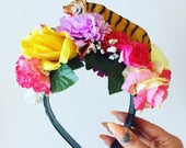 Flower Floral Head Dress Head Band tiger  Animal zoo Toy Festival