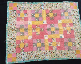 Vintage 30s or 40s Feed Sack Doll Quilt Hand Quilted Juvenile Fabric On Backing