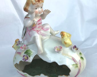 Vintage Porcelain Easter Egg with Girl and Chicks Planter or Candy Holder Ardalt Japan Linwile China Japan 6581