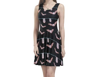 Bats Dress Pastel goth dress creepy cute pink mini skater sleeveless stretchy size  xs s m l xl xxl unique printed dress alternative fashion