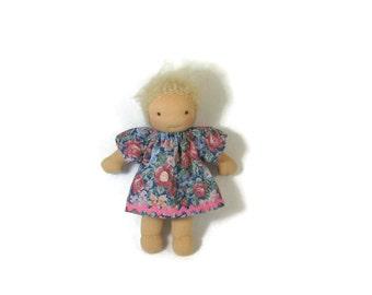 7 inch, 8 inch, 9 inch Waldorf doll dress, blue floral doll dress, toy clothing, tiny doll dress