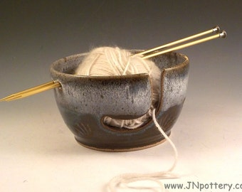 Stoneware Yarn Bowl - Ceramic Skein Caddy - Knitters Accessory - Crochet Bowl - Ready to Ship - Deep Blue and Brown with Hare Fur Rim v618