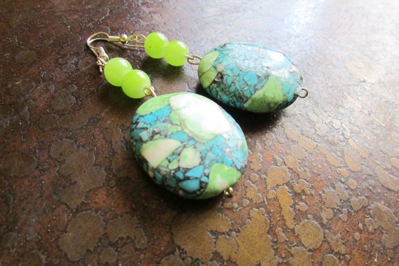 Dive Glass and Mosaic Turquoise Beaded Dangle earrings