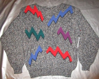 Geometric 80's Sweater - Gray multicolored Zig Zag Graphic Design by Anne Klein - Women's M - Wool Blend