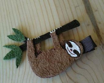 Sloth Leather Hair Clip #1