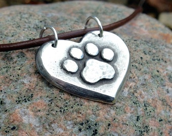 Paw Print on my Heart Necklace, Rustic Jewelry, Dog Mom Gift, Cat Lover Gift, Heart Pendant