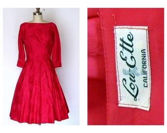 1950s Dress Red Taffeta Full Skirt Cocktail Dress Lou-Ette Valentine Red Dress  Sz M