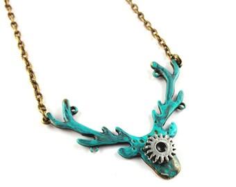 SALE Steampunk Vintage bronze teal turquoise patina deer stag antler pendant necklace