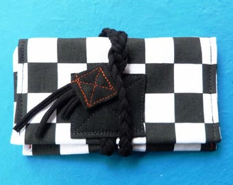 Black and white checks Tobacco pouch