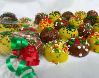 Cake Balls: Christmas Cake Bitty Bite Sampler Pack. Perfect holiday gift for anyone! Merry Christmas