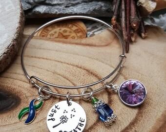 GB-4 IIH Awareness Bracelet Intracranial Hypertension Jewelry Gift For Her Neurofibromatosis Dandelion Just Breathe Charm Jewelry Birthstone