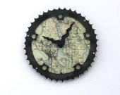 Seattle Bicycle Clock | Size M | Map bike gear clock | DC Map