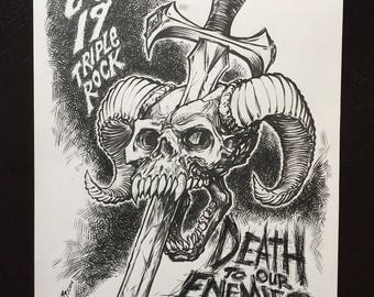Death to our Enemies original gigposter drawing