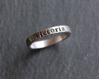 Hand Stamped Sterling Silver Ring; Stacking Name Ring; 3mm width