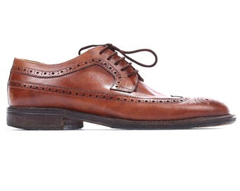 men Us 8 Men's Brogues Shoes 80s Brown Leather Mario Bruni Italy Made Vintage Perforated Elegant Mens Gift sz  Eur 41 , UK 7.5