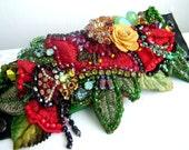 Embellished Flower wrist cuff- OOAK  - ready to ship xx