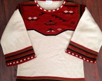 Amazing womens 1970's boho sweater shirt. Size medium