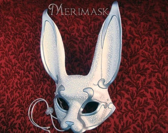 READY TO SHIP White and Silver Venetian Rabbit Mask...  leather mask rabbit costume masquerade burning man mardi gras mask