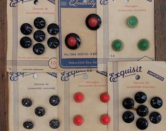 Vintage Glass Buttons Original Cards Made In Germany Exquisit