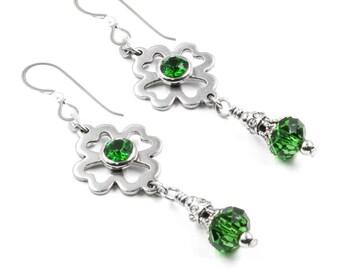 St. Patricks Day Earrings, Emerald Earrings, Shamrock earrings, Green Shamrocks, 4 leaf Clover Earrings