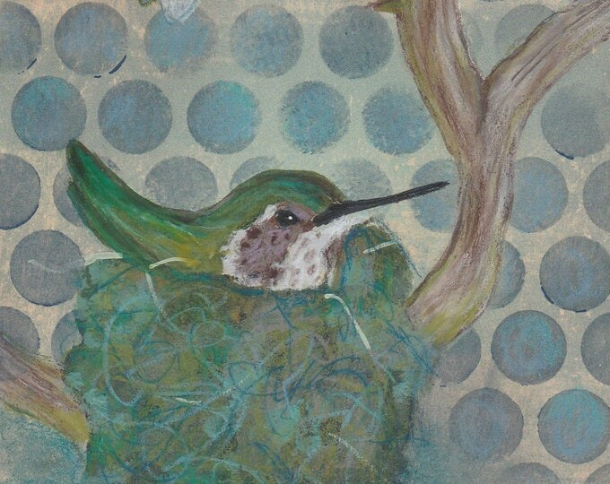 Nesting Hummingbird and Bee greeting card blank