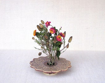 Flower Vase, Handmade Pottery, Ceramic Ikebana Vessel, Doily Lace Vase