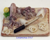 RESERVED *12th scale handmade miniature fresh squid preparation.* RESERVED for Minteriors