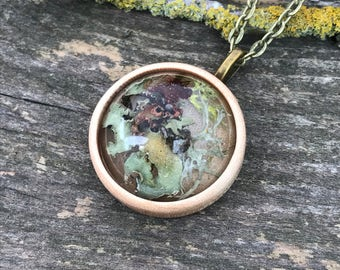 Lichen, moss and wood necklace, round, handmade, 28mm x 28mm