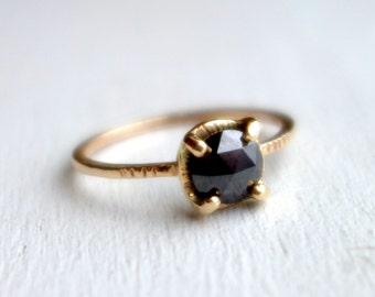 Black Diamond Rose Cut Ring in 14k Yellow Gold- Handmade by Rachel Pfeffer
