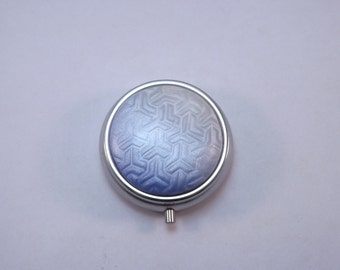 Pill Box,  Blue and White Ombre Design Polymer Clay Decorated Container