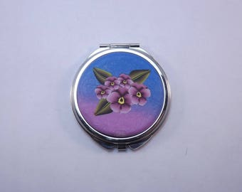 Polymer Clay Embellished Compact Purse Mirror,  Lavender Pansies