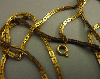 Vintage Boston Link Raw Brass Chain Necklace - 16 in