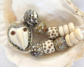 Barn Owl Bead Set Handmade Lampwork