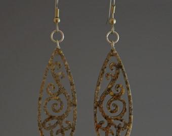 Maui Brown Earrings Upcycled Corian Teardrop Filigree Earrings Dangle Earrings - Upcycled Handmade Recycled Jewelry