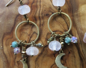 Dangly Earrings Boho Luxe Gold Filled - Luxury Bohemian Gemstone Crystal Jewelry - Crescent Moon Pink Turquosie - Rose Quartz Hoop Festival
