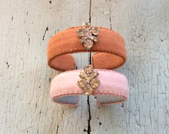 Ultrasuede and Rhinestone Adjustable Cuffs