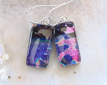Petite, Purple Earrings, Pink, Dichroic Glass Earrings, Fused Glass Jewelry, Dangle, Sterling Silver, A11