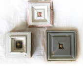 Heart Art Reserved for D -  A Grouping of Three Original Mixed Media Assemblage Pieces