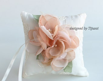 Wedding rings pillow with small flowers and leaves  ---ring bearer pillow, wedding rings pillow, wedding pillow, ready to ship