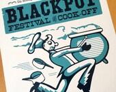 BLACK POT Cajun Music & Food Festival 2013. Hand Printed Letterpress Poster