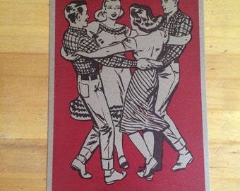 SQUARE DANCE RED Basket hands around. Hand Printed Letterpress Poster