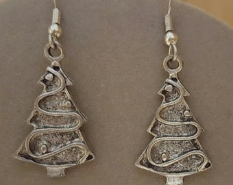 Christmas Tree Earrings Pewter - Special Price
