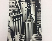 Decorative Tea Towel | Art Deco Skyline  keepsake decorative tea towel |bar towel| skyscraper black & white print| housewarming gif
