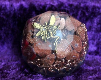 Gold Fairy Bliss Bomb Orgone Energy with Gold Stone and Red Coral and Jade