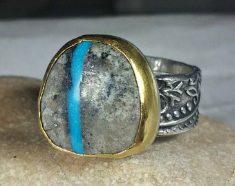 Ribbon Turquoise Statement Ring, Silver,  22 kt yellow gold and turquoise Solitaire Ring, etched silver ring