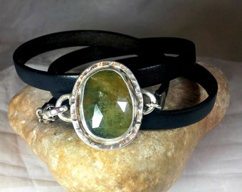 Sapphire Bracelet,wrap bracelet, Rose cut sapphire Cuff Bracelet,  leather and sapphire stone bracelet