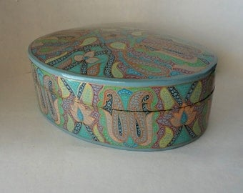 """Vintage 8 5/8"""" Oval Kashmir Paper Mache Lacquered Trinket Box Exotic Asian Print Teal Gold Hand Made Painted Large Treasure Valet Dresser"""