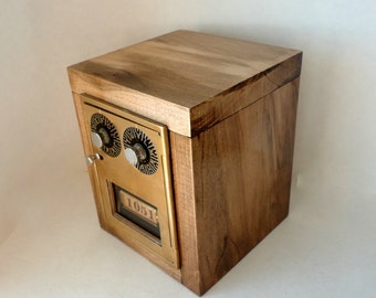 Rustic Maple Bank with Vintage Brass Post Office Mail Box Door #1051 Safe Combination USPS Lockbox Man groomsman wedding 5th 8th Anniversary