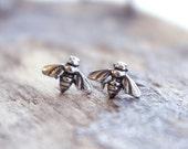 Sterling Silver Small Bee Stud Earrings