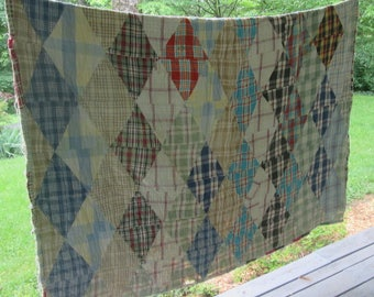 "Very Vintage Hand Pieced/ Hand Quilted Flannel Quilt - 1930s Handmade Cotton Quilt - 60"" by 80"" Well Used Coverlet"